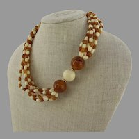 Vintage AVON Amber & Cream Lucite Thermoset Beads Six Strand Necklace