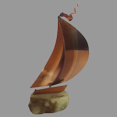 Vintage DeMott Copper Metal Sailboat Sculpture Boat on Onyx Rock Copper Artist Signed Nautical
