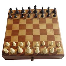 Vintage Wooden One Drawer Chess Board with Pieces