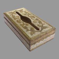 Vintage Gold White Florentine Italy Italian Tissue Box