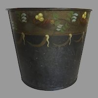Vintage Hand Painted Tole Sap Bucket Garland Fruit Waste Basket