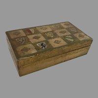 Vintage Hinged Lid Florentine Italy Italian Box Shields Crests