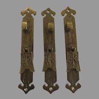 3 x Vintage Brass Oriental Asian Style Furniture Pulls Hardware