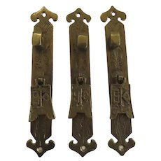 3 x Vintage Brass Oriental Asian Style Furniture Pulls Hardware