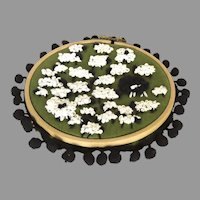 Handmade Embroidery Hoop Hanging Wall Decoration Sheep One Black Sheep
