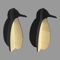 2 x Vintage Polar Wood Slotted Penguins