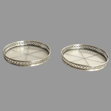 2 x Vintage Webster Sterling and Cut Glass Coasters