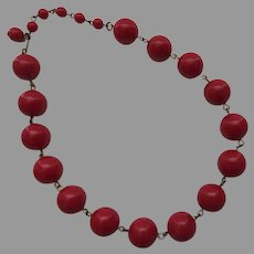 Vintage Cherry Red Graduated Bead Choker Necklace