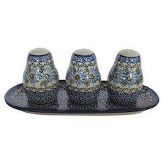 Vintage Polish Pottery Manufaktura Boleslawiec Condiment Set 4 Piece Salt Pepper Tray