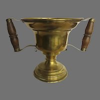 19th Century Hot Coal Carrier Urn Handled Brass Planter Jardiniere
