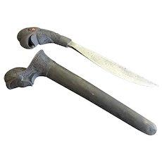 Older VINTAGE Carved Asian Indonesian SEWAR Dagger Knife Parrot Head