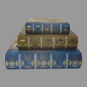 Vintage Set of Nesting Book Boxes by Punch Bird Motif