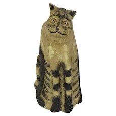 Vintage 2004 Johanna Parker Signed Cat Great Face Folk Art
