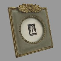 Vintage Wooden Carved Picture Frame with Gold and Paint by Abigails