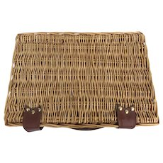 Vintage Picnic Time Willow Basket Wine Cheese Sonoma Service for 4