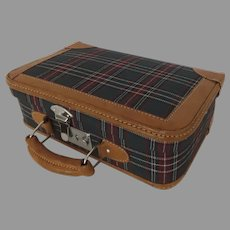 Vintage Small Childs Doll Suitcase with Leather Trim Tartan Plaid Fabric