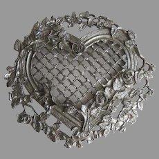 Cast Metal Heart Embellishment Re-Purpose Roses