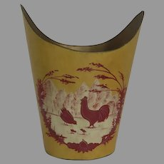 Vintage Tole French Farm Scene with Chickens Waste Basket Trash Can
