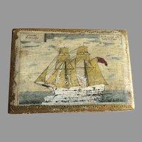 Vintage Florentine Hinged Small Box Sailing Ship Nautical Scene