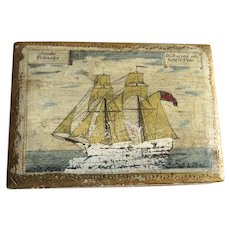 Vintage Florentine Hinged Small Box Sailing Ship Nautical Scene