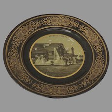 Small Papier Mache Dish Plate Souvenir The Great Exhibition c 1855 Crystal Palace