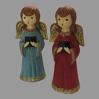 Two (2) Vintage Retro Papier Mache Singing Choir Angels Christmas Japan
