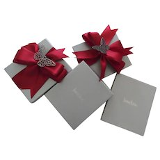 4 x Vintage Neiman Marcus Gift Boxes Red Ribbons Butterflies