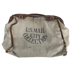 Vintage 1930's Canvas and Leather Mail Carrier Bag