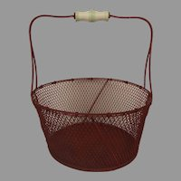 Vintage Wire red Painted Basket Porcelain Handle.