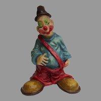 """Vintage Signed Alvarez Mexico Paper Mache 16"""" Hobo Clown Great Child's Decoration"""