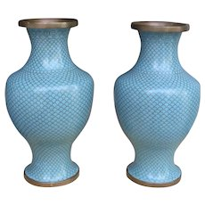 Pair of Stunning Cloisonne Vases c 1920 Made in Japan Turquoise Blue