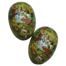 Huge Paper Mache Easter Egg Candy Container Rooster Hens Chicks at a Farm Picnic 9.5 Inches Made in Germany