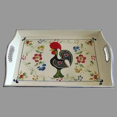 Vintage Barcelos Rooster Chicken Good Luck Portugal Wooden Serving Tray Country Kitchen