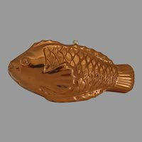 Vintage Copper Fish Tin Lined Food Jello Mold with  Hanging Wall Hook