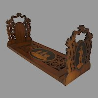 Italian 1900's Expanding Expandable Bookends Bookcase Inlaid Pierced