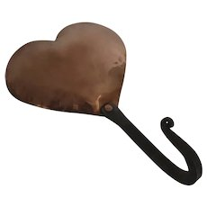 Vintage Beautifully Made Copper Heart Hook Wrought Iron