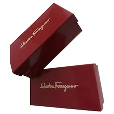 Two (2) Vintage Salvatore Ferragamo Red Small Gift Boxes Made in Italy