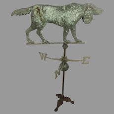 Vintage Copper Weather Vane Settler Dog on Stand