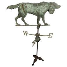 Vintage Copper Weather Vane Settler Dog on Stand