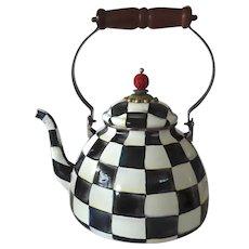 Vintage MacKenzie Childs Courtly Check Enamel Kettle Tea Pot 3 Quart