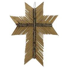 Vintage Match Stick Folk Art Cross by Lucille Sanchez