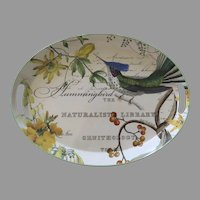 Vintage Large  Tole Painted Metal Michel Design Works Oval Tray Birds Botanical Hummingbird