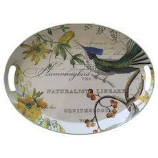 Vintage Large  Tole Painted Metal Michel Design Works Oval Tray Birds Botanical Hummingbird