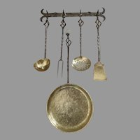 Vintage Beautifully Made Brass and Wrought Iron Kitchen Utensils with Hanging Rack Holder Country Kitchen