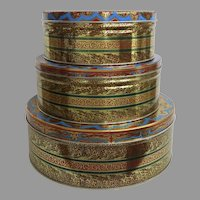 Set of  Three (3) Hostess Fruit Cake tins by Continental Baking Co. of New York City Tins Nesting Storage