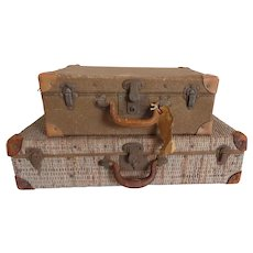 Two Vintage 1900's Luggage Suitcases Wicker Rattan Leather