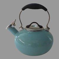 Vintage Chantal Turquoise Whistling  Enamel on Steel Tea Kettle Very Good