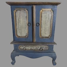 Vintage Miniature Chest Jewelry Box Distressed Painted Blue
