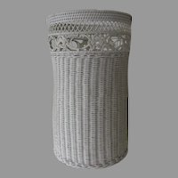 Vintage Tall Waste Basket Hamper White Wicker Celtic Knot Lattice Motif