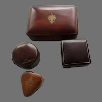 Group of Four (4) Italian Leather Small Boxes Gold Tooled Italy Heart Shaped